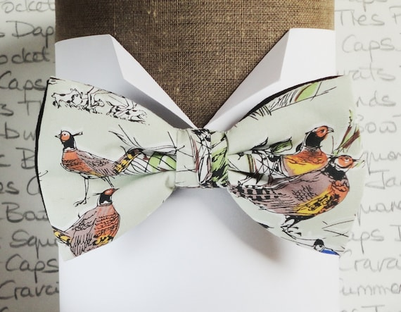 Bow Tie, Bow Ties For Men, Men's Bow Ties, Pre Tied Bow Tie, Pheasant print on a pale green background