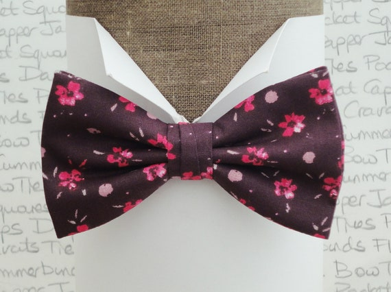 Pink flowers on a dark wine back ground, floral bow tie, bow ties for men, wedding bow tie