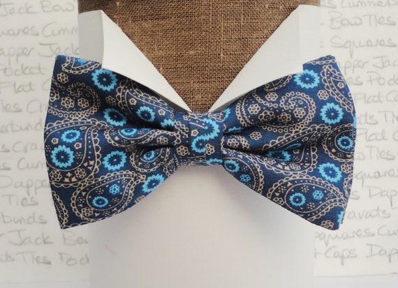 Blue Paisley Bow Tie, Bow Ties For Men, Pre tied Bow Tie, Self Tie Bow Tie, Gifts For Men, Wedding Bow Tie, Groom Bow Tie