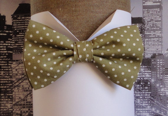 Pale olive and white spot bow tie, bow ties for men, men's bow tie, pre tied or self tie bow tie