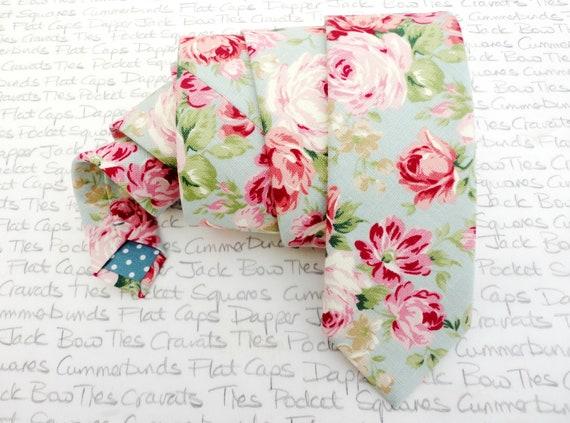 Floral Linen Look Wedding Necktie, Ties For Men, Groom Necktie
