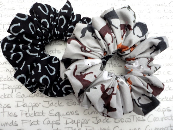 Pair of Scrunchies, Horse Print and Horse Shoe Print Scrunchies, Gifts For Girls Who Love Horses and Ponies