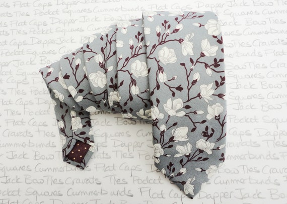Neck tie, burgundy and cream floral design on grey, ties for men, wedding ties for men, skinny ties, slim ties standard width ties