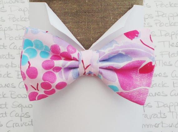 Bow ties for men, pink fruit print bow tie, pre tied or self tie bow tie, made in limited numbers from a vintage cloth