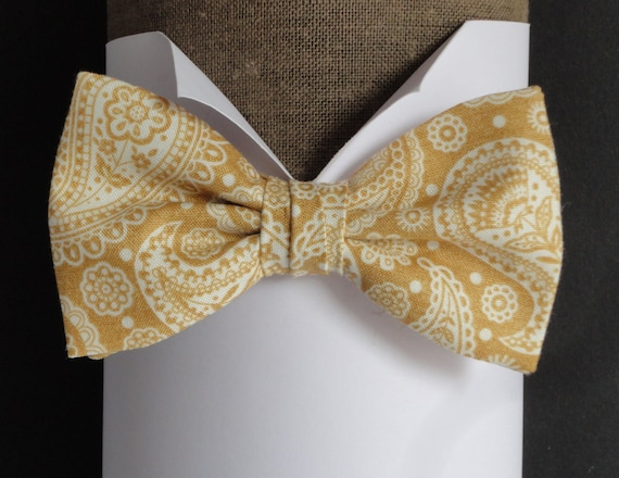 Gold paisley bow tie, pre tied or self tie bow tie, bow ties for men, wedding bow ties, mens bow ties