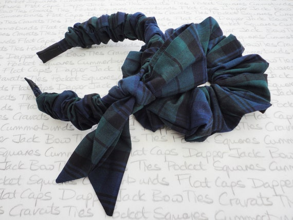 Headband And Scrunchie In A Blackwatch Print Cotton, Hair Accessories, Blackwatch Tartan Hair Accessories