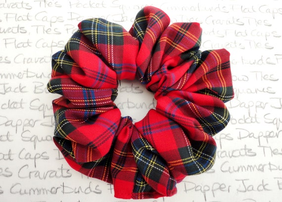 Red Tartan Scrunchie, Scrunchies, Red Tartan Hair Accessories, Christmas Scrunchy, Gifts For Girls, Xmas Gifts For Girls, Party Scrunchie