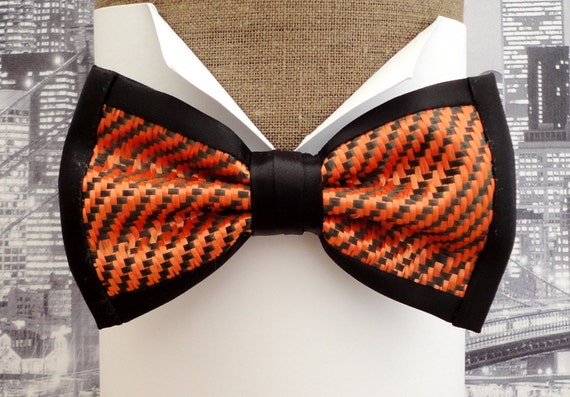 Carbon fibre bow tie, McLaren F1 colours bow tie, orange and black bow tie, bow ties UK, bow ties for men