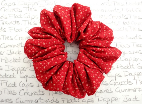 Scrunchies, Red Scrunchies With Gold Stars, Party Hair Accessory, Gifts For Girls, Christmas Gifts For Girls, Designer Hair Accessories,