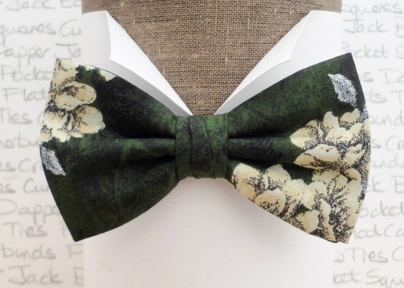 Green Floral Bow Tie, Wedding Bow Ties, Bow Ties For Men