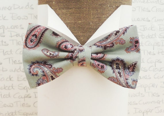Pale Sage Paisley Bow Tie, Matching Pocket Square, Groom Fashion