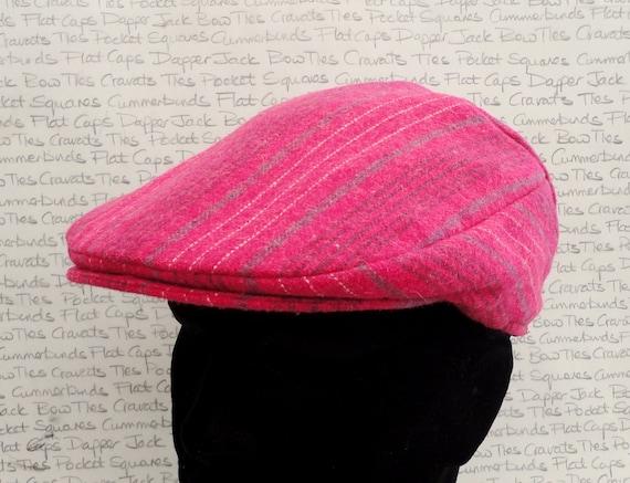 Pink stripe flat cap, driving hat, unisex flat cap