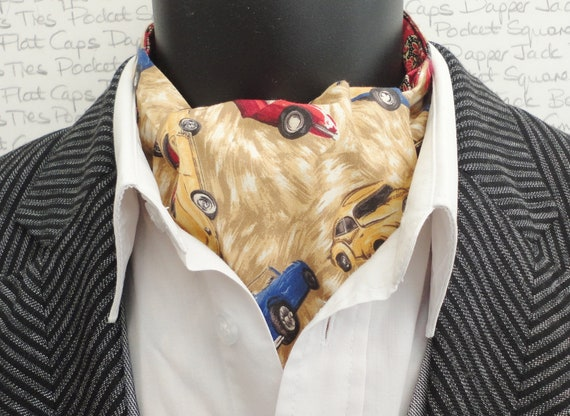 Classic car print cravat, English classic cars reversible cravat