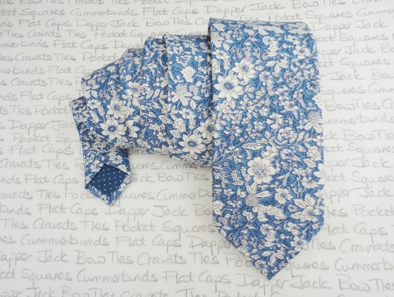 Blue floral neck tie, wedding tie, ties for men, floral ties for men, skinny ties, standard ties, slim floral ties