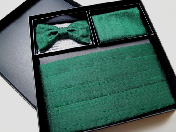 Cummerbund Bow Tie and Pocket Square Set in Silk Dupion