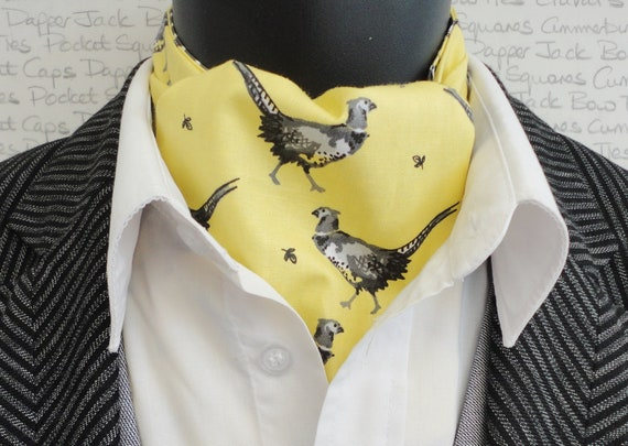 Pheasant In Grey On A Buttermilk Background Reversible Cravat, Off White Polka Dots On A Grey Background On The Reverse Side