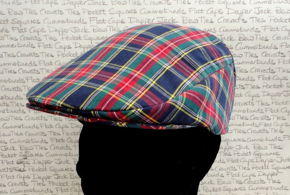 Check flat cap, flat caps for men, tartan driving hat
