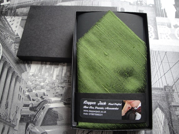 Silk pocket square, moss green pocket square in silk dupion