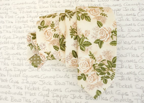 Floral wedding necktie, ivory roses on an ivory background