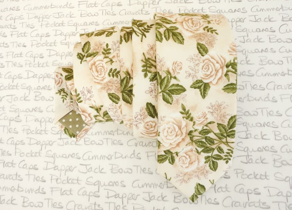 Floral Wedding Tie, Ivory Roses, Green Leaves,  Ivory Tie, Summer Neck Tie, Groom Tie, Trending Ties For Men