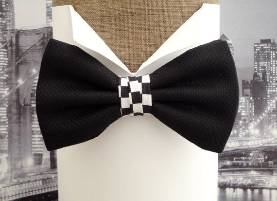 Bow ties for men, black panama bow tie with a touch of chequered flag in the centre