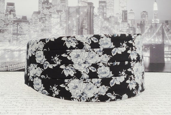 Cummerbund set, pre tied or self tie bow tie, pocket square, grey and white roses on a black background