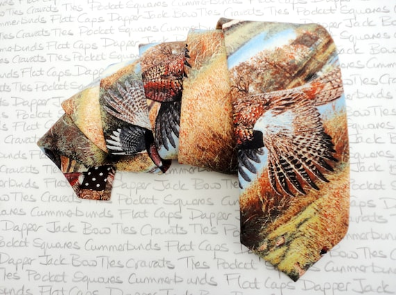 Pheasant print tie, ties for men, shooting tie