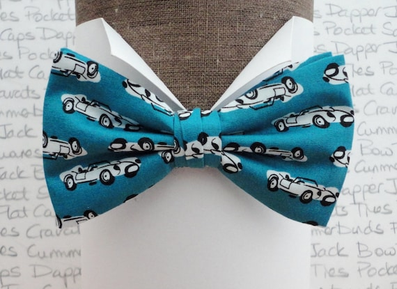 Sports Car Bow Tie, Bow Ties For Men, Tuquoise Bow Tie