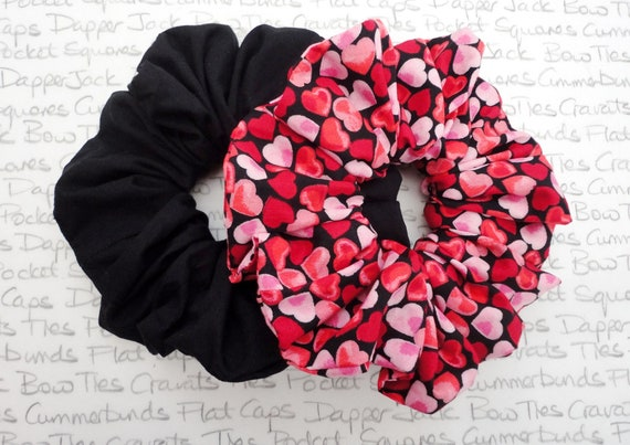 Heart Print Scrunchie, Valentines Gift For Girls, Pack of Two Scrunchies One Heart Print and One Black