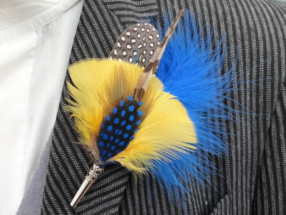 Feather hat pin, Feather lapel pin, blue and yellow feathers