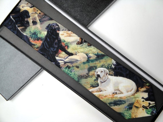 Men's Tie, Labrador Print Tie, Ties for Men