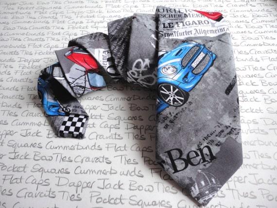 Mini print neck tie, neckties for men, London scene with minis, ties for men, standard width neck tie