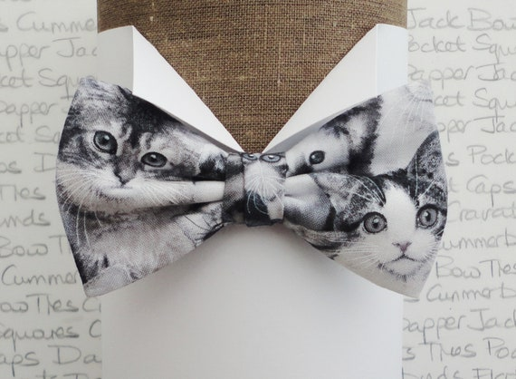 Cat print bow tie, bow ties for men