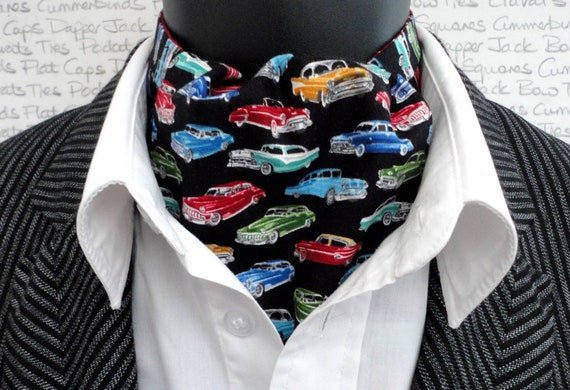 Cravat, Reversible Cravat, Ascot, Classic Car Print Cravat, Wine Cravat with White Spots