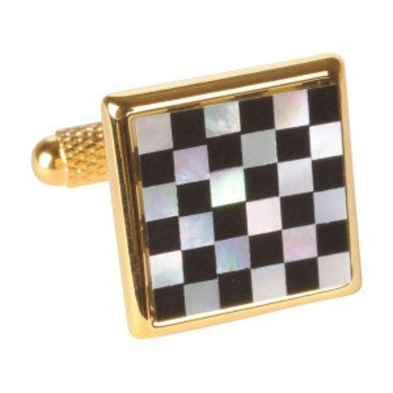 Gold Plated Black & White Mother of Pearl Chequered Cufflinks