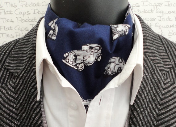 Navy blue historic car print reversible cravat, paisley print on the reverse side.