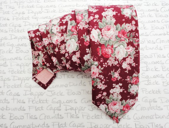 Floral necktie, blush pink and sage green roses on a burgundy background