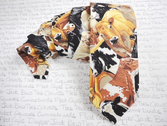 Crowded Cows Neck Tie, Cows Tie, Farmers Gift, Novelty Tie