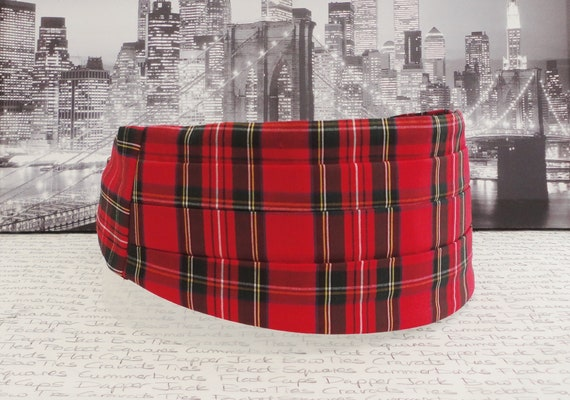Red Tartan Cummerbund, Bow Tie and Pocket Square Set