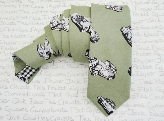 Neck tie for men, vintage cars on a khaki background, slim tie with contrast lining