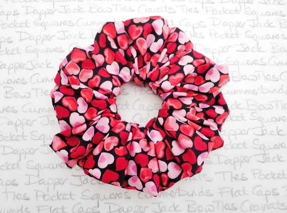 Heart Print Scrunchie, Valentines Gift For Girls