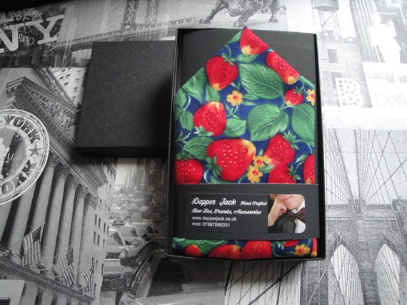 Pocket square, Pocket handkerchief, Strawberry print pocket square