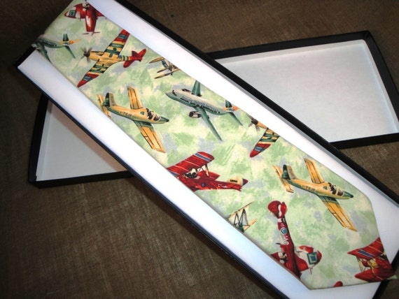 Tie in an aeroplane printed cotton fabric.