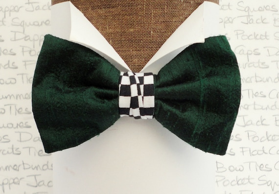 British Racing Green Silk Bow Tie with a Chequered Flag Centre, Bow Ties For Men