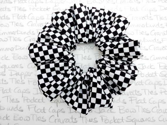 Chequered Scrunchy, Scrunchies, Chefs Check, Black and White Scrunchy, Gifts For Girls, Chequerboard Scrunchie, Chessboard Scrunchie