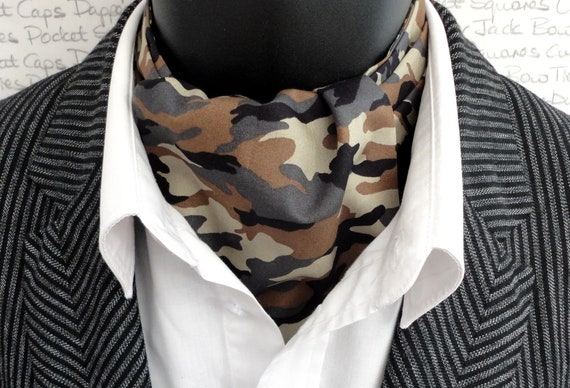 Reversible Cravat, Camouflage Print On One Side And White Spots On A Pale Khaki On The Reverse Side