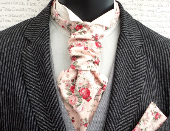 Pink Floral Scrunchie Cravat Perfect For Weddings, Cravats For Men