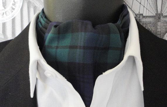 Cravat, black watch tartan cravat for men, ascots for men
