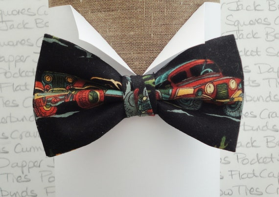 Off Road print black pre tied bow tie, bow ties for men