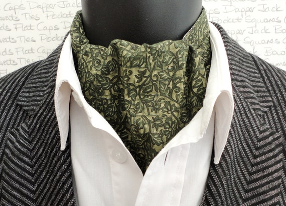 Sage green floral reversible cravat, cravats for men, ascots for men